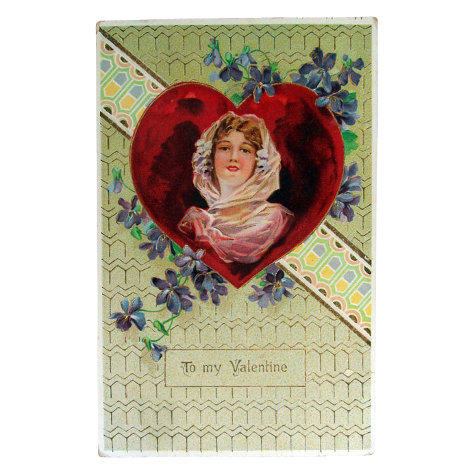 Valentine Gel Postcard with Beautiful lady