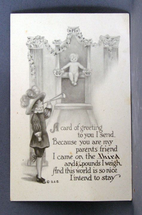1913 Birth Announcement Post Card