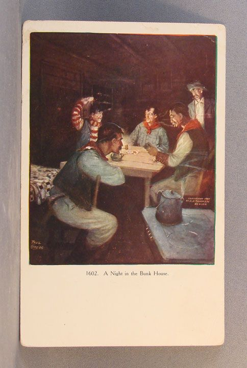 Unused postcard Night in the Bunkhouse  by Paul Gregg