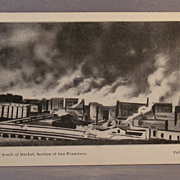 Unused black and white undivided back postcard of fires after the San Francisco earthquake