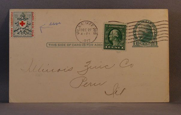 1917 Postcard Johnson Service Company order inquiry with American Red Cross Christmas Seal