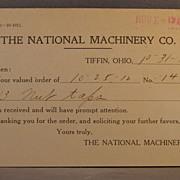1912 postcard National Machinery Co. oder receipt