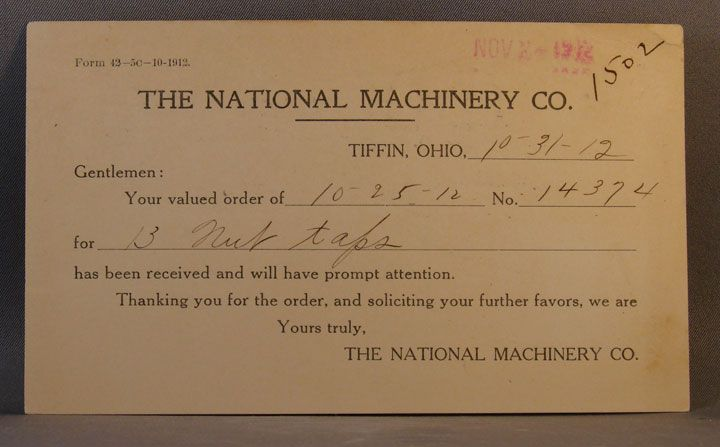 1912 postcard National Machinery Co. oder receipt