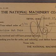 1908 Postcard National Machinery Co. oder receipt