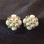 White with black accent bead cluster earrings  West Germany