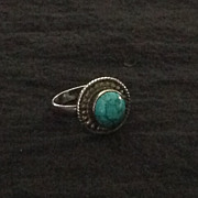 Sterling silver and turquoise ring with Southwest style