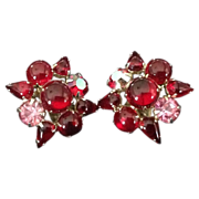 Weiss red clip earrings