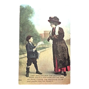 1911 Social Commentary postcard  Anglo Life series Postcard