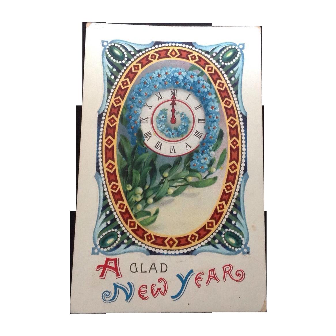 1913 Glad New Year Gel Postcard Printed in Germany