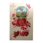 1911 Valentine postcard with an archery theme