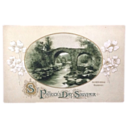 Unused St. Patrick's Day postcard featuring Old Weir Bridge, Killarney