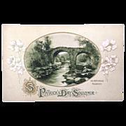 Unused St. Patrick's Day postcard featuring Old Weir Bridge, Killarney