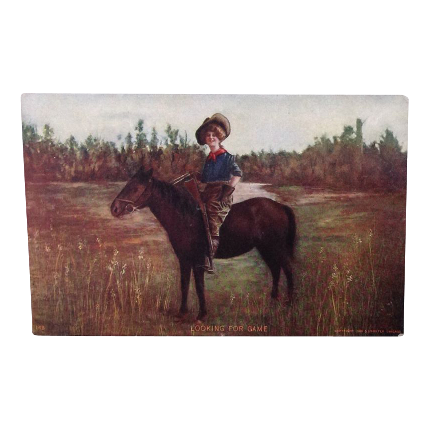 "1906 Cowgirl or Hunting theme postcard ""looking for Game"""