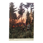 "Unused and undivided back postcard ""He Calls""  Gentlemen hunting"
