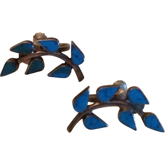 Alpaca Silver and turquoise earrings with leaf and branch motif