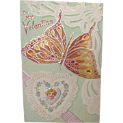 1910 Valentine Postcard. Butterfly Series. To My Valentine