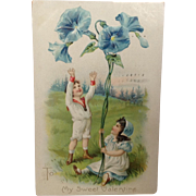 1908 Valentine Postcard with Morning Glories  Raphael Tuck Floral Missives Series