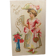 "Unused Valentine Postcard. ""My Heart's Gift"""