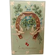 1909 Valentine with Horseshoe, Swallows and Four Leaf Clovers
