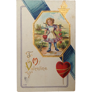 1914. Valentine with girl and a yoke of hearts