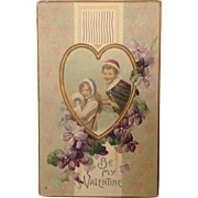 1911 Winter Themed Valentine with Boy and Girl and Sled