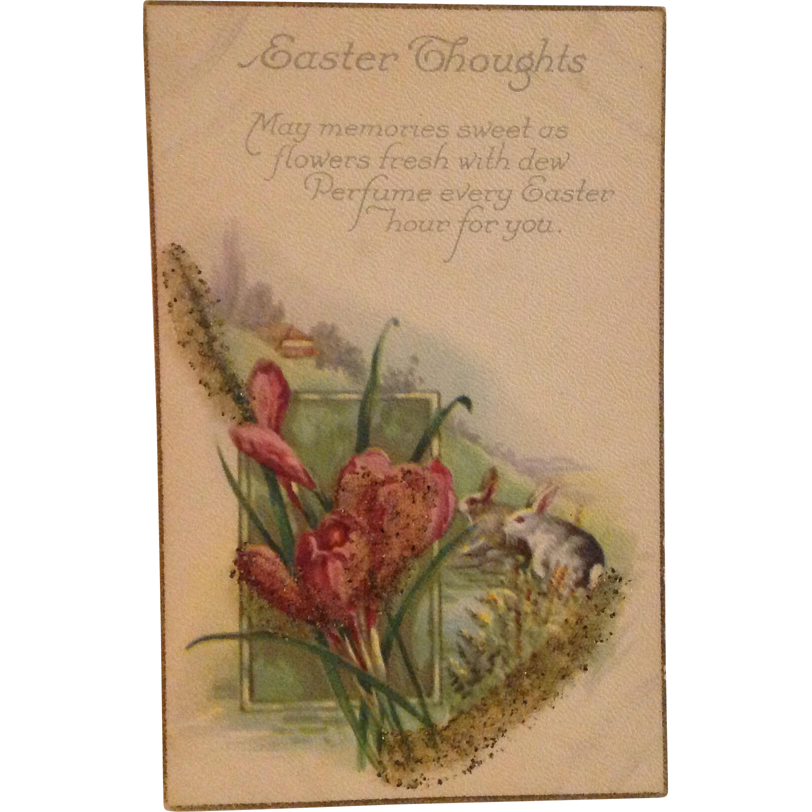 Easter Thoughts Postcard with Coralene Bead Add-ons