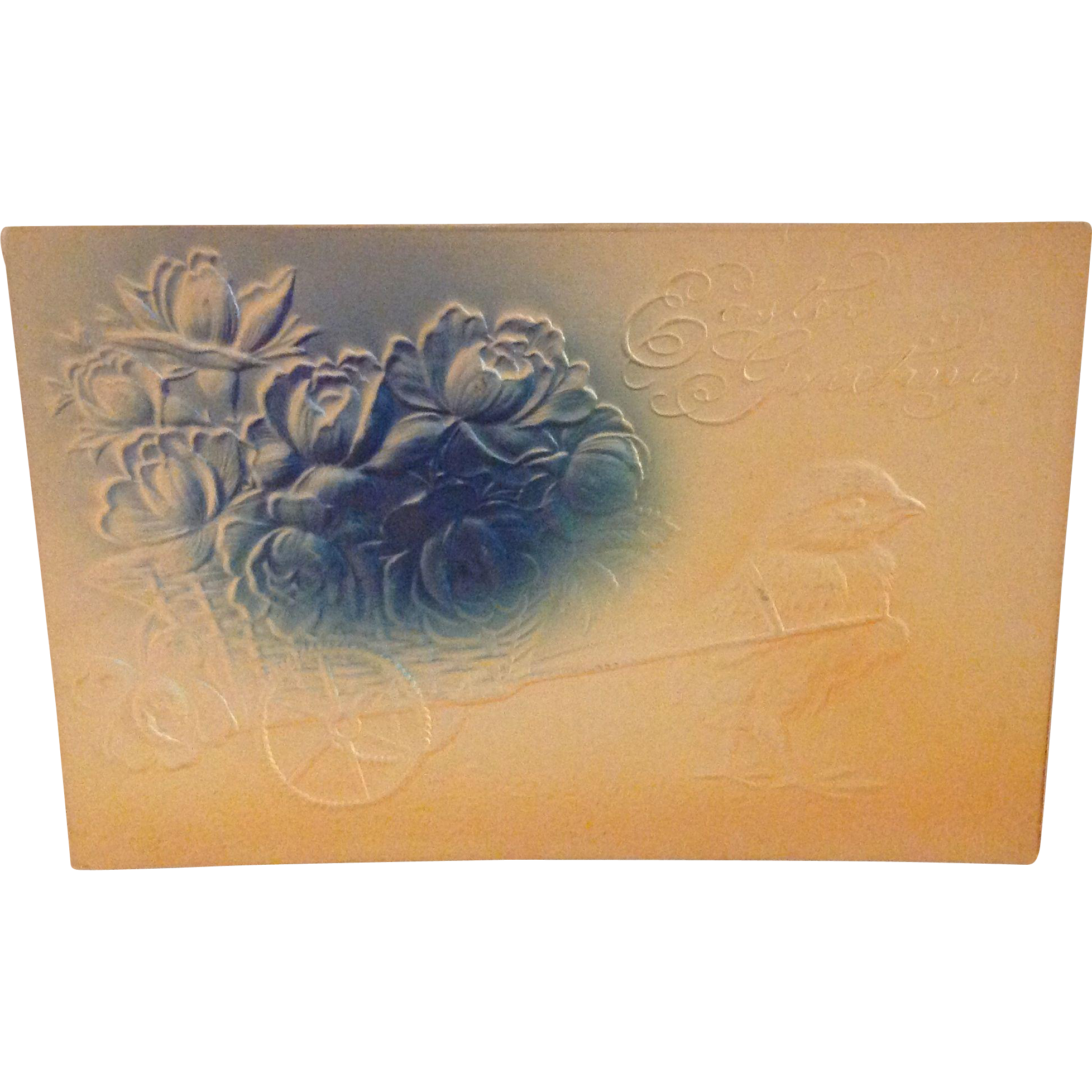 1908 Blue Airbrushed and Embossed Easter Postcard with Chick pulling a cart with flowers