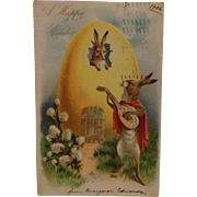 1906 Easter Postcard with Rabbit Troubadour