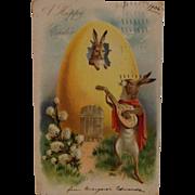 1906 Easter Postcard with Rabbit Troubadour