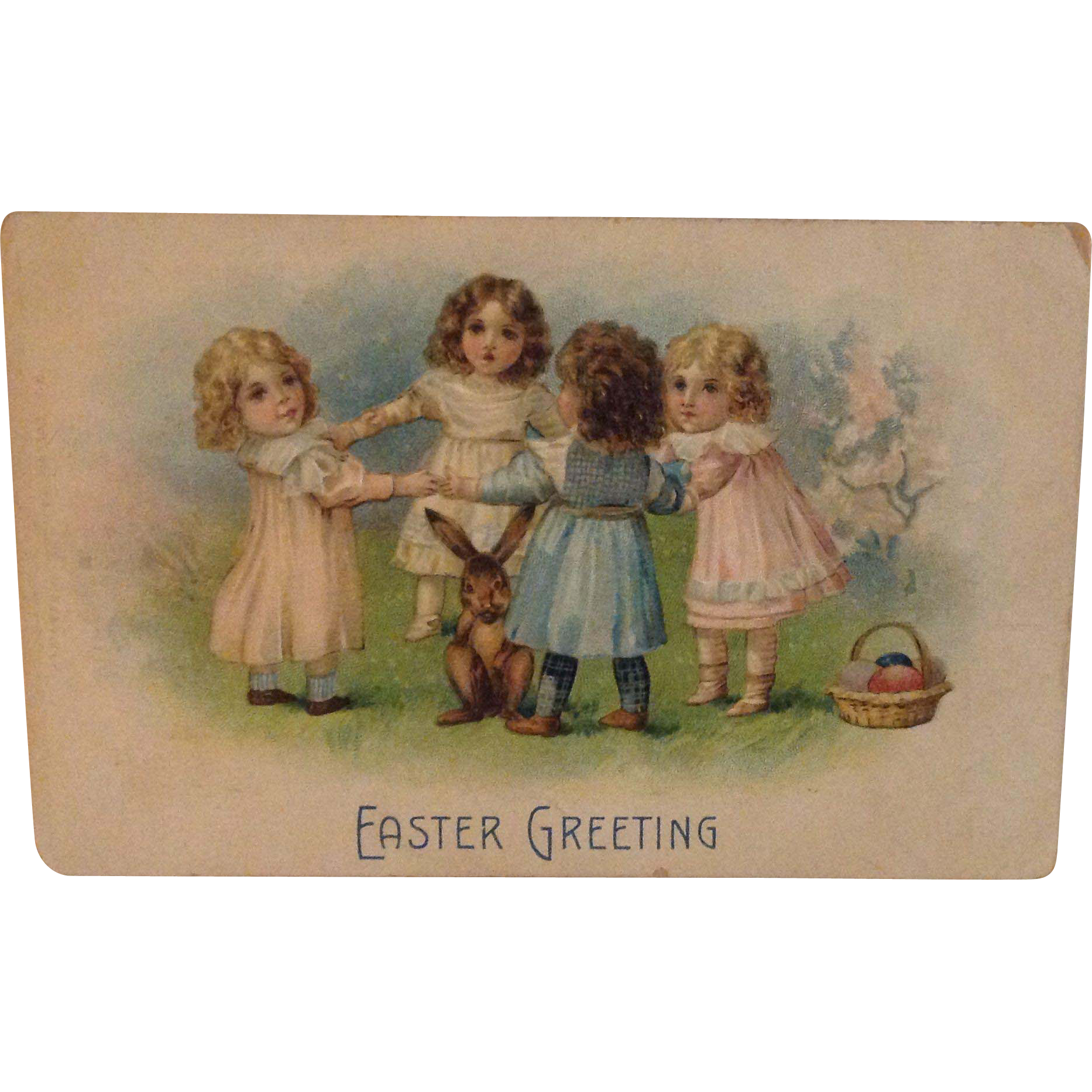 1909 Easter Greeting Postcard with lovely little girls dancing in a ring around a little brown bunny