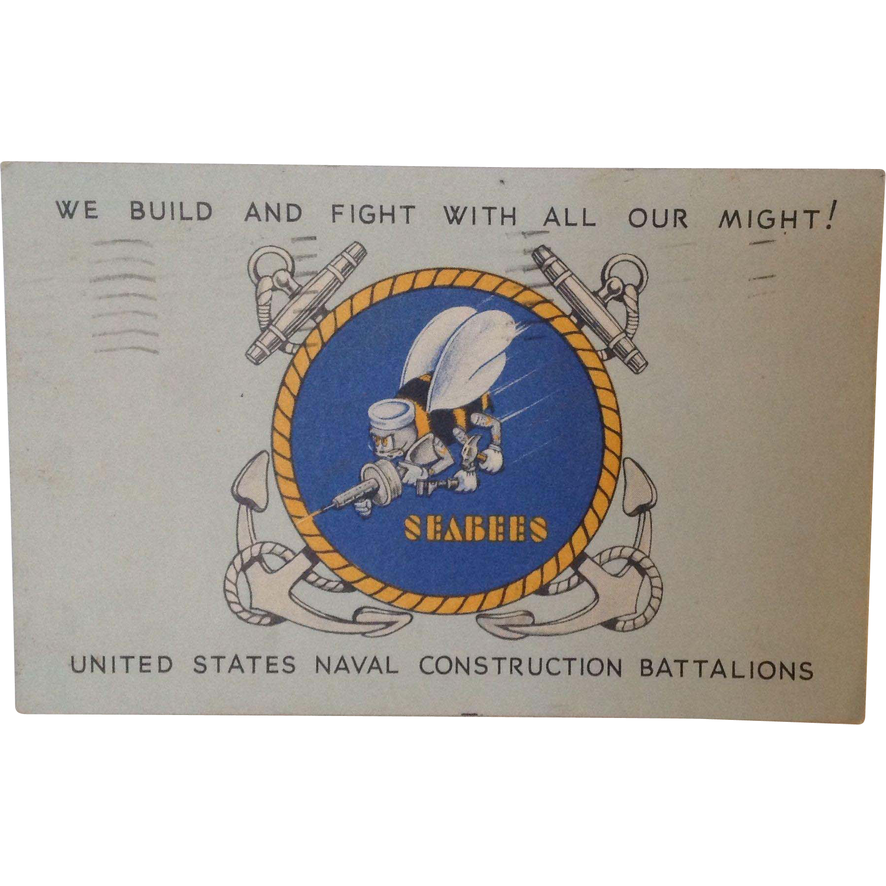 1943 World War II Seabees Postcard with sad message