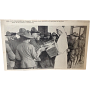 1917 Postcard U.S. Soldiers in France getting cigarettes from French nurses in Austerlitz