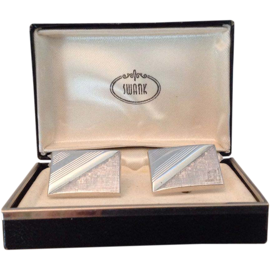 Vintage Swank silver tone rectangular cuff links in original box