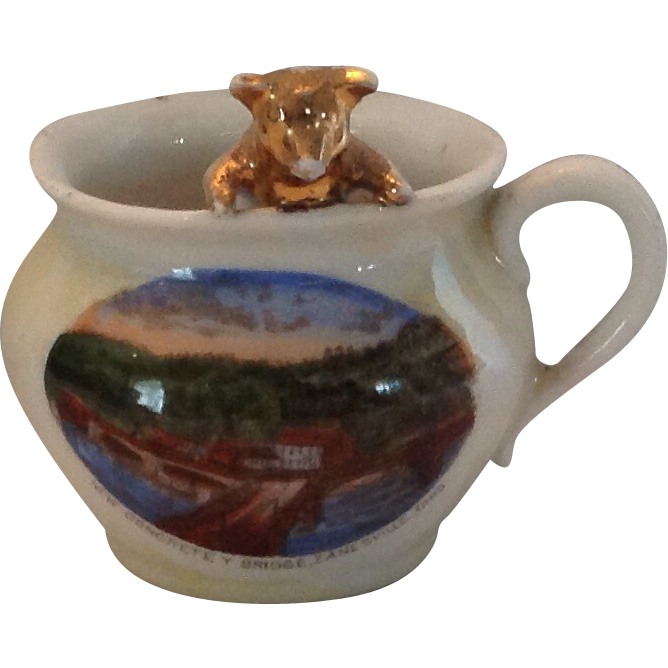 Pig in German Lusterware Souvenir Cup New Concrete Bridge Zanesville, Ohio