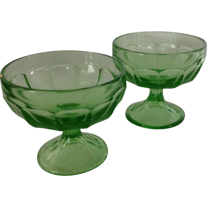 2 Federal Glass depression era Optic Panel 3 inch junior sherbet glasses