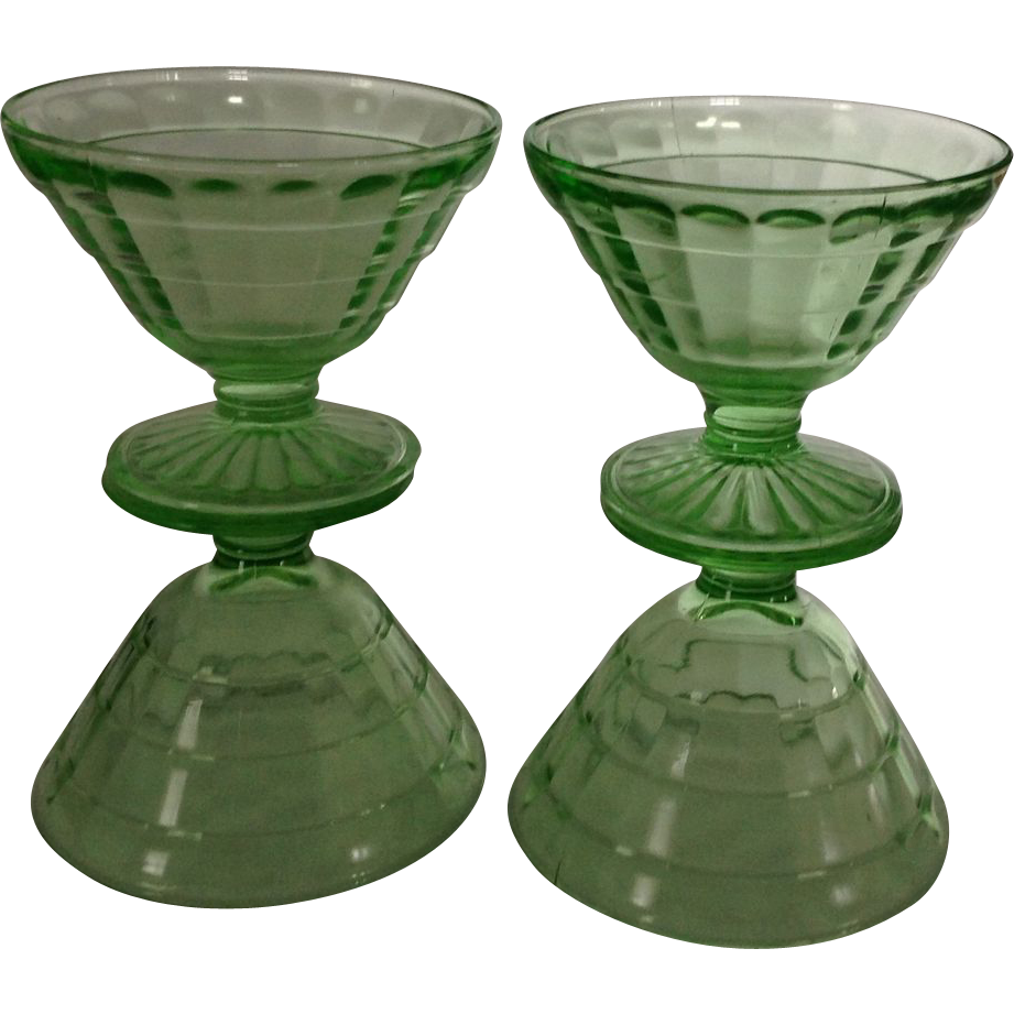 Set of 4 Hocking green depression Block Optic sherbet glasses