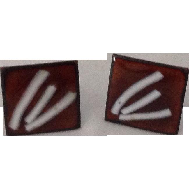 Enamel square copper screw back earrings