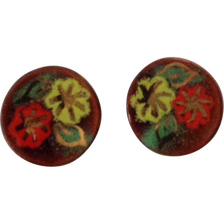 Vintage round copper clip earrings with enamel flowers