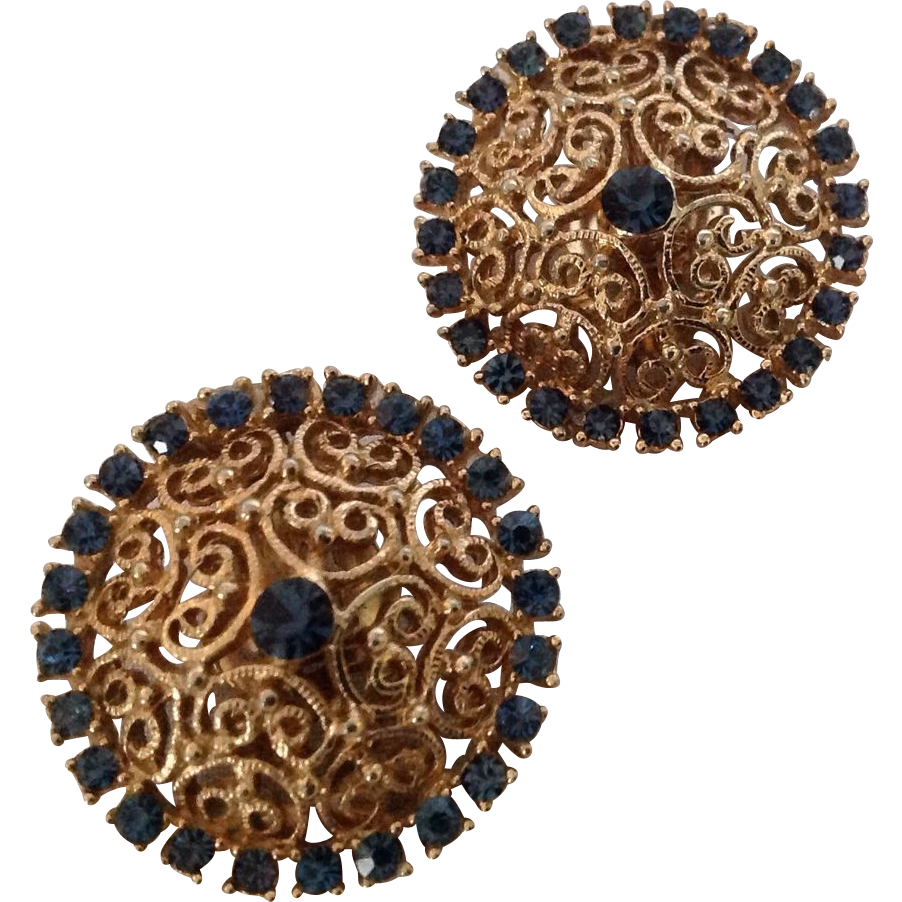 Kramer filigree earrings with midnight blue rhinestones
