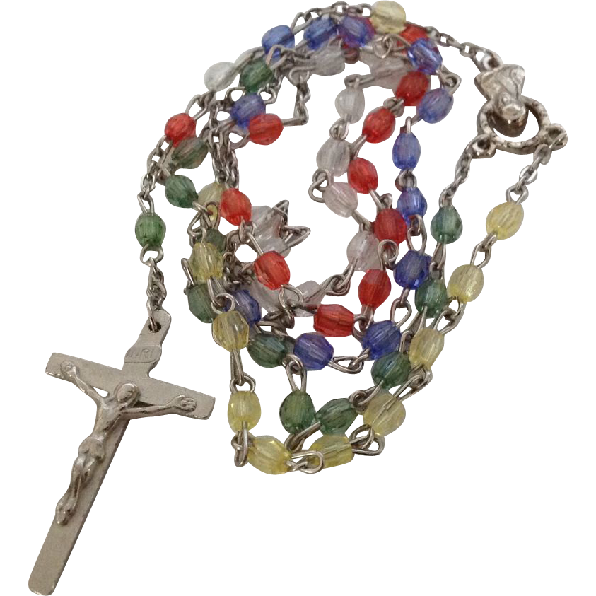 Rosary with multi-colored beads
