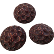 Set of three vintage brown buffed celluloid buttons - Red Tag Sale Item