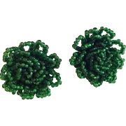 Bright green seed bead clip earrings made in Germany