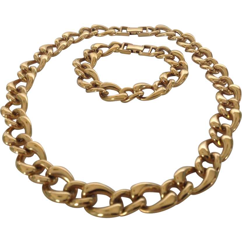 Monet gold tone large link chain necklace and bracelet