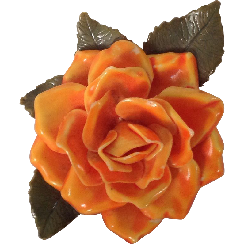 Orange celluloid rose pin