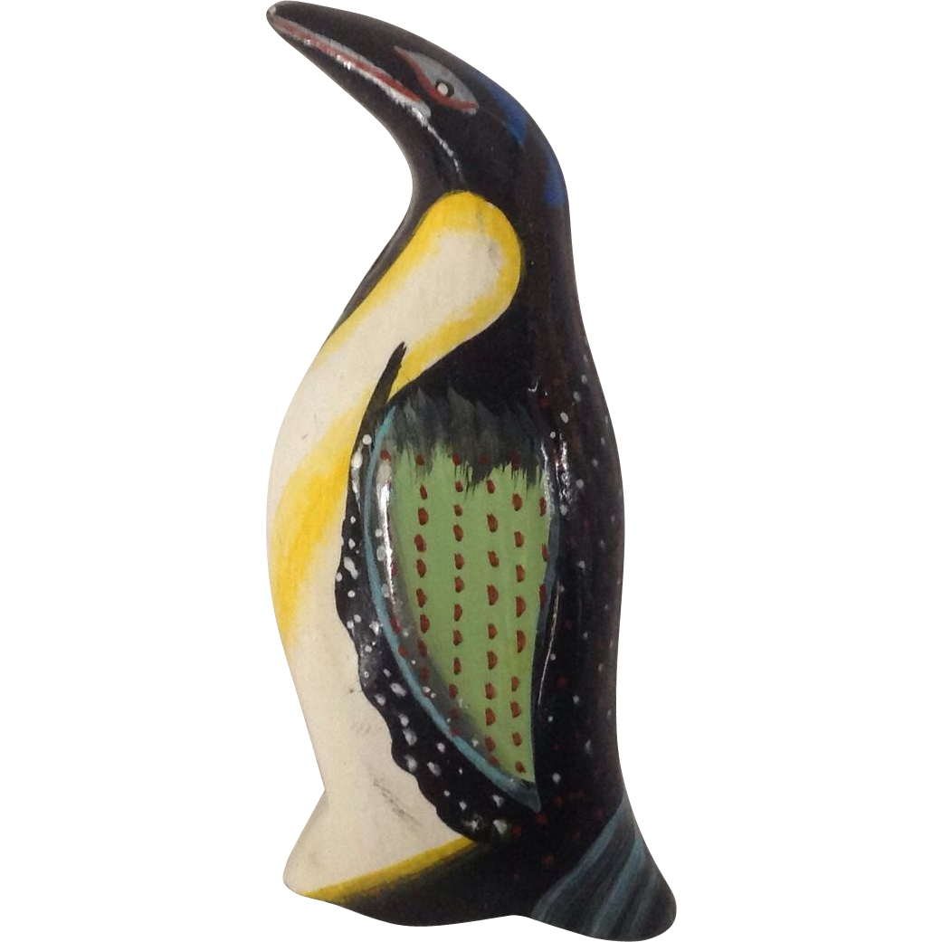 Carved and Painted Wooden Emperor Penguin