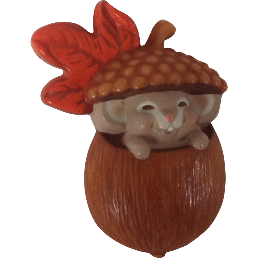 Whimsical 1985 Hallmark Cards Mouse in Acorn Fall Pin