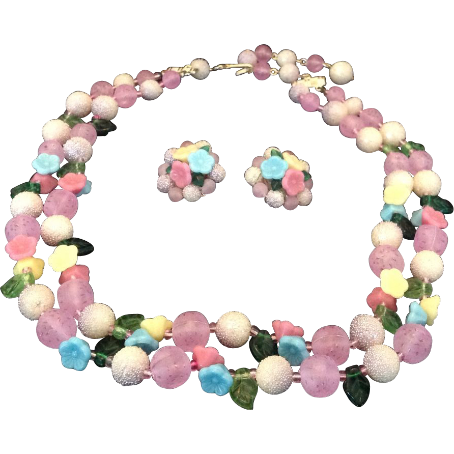 Yummy Pastel Fruit Salad Double Strand Necklace and Earrings Demi Parure