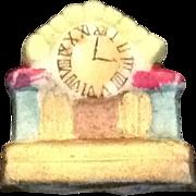 Miniature bisque mantel clock Japan