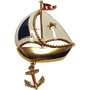 Avon nautical motif sail boat pin with anchor