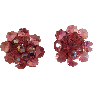 Sparkling pink bead cluster earrings with faceted glass beads
